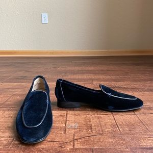The Row made in Italy blue velvet leather moccasin